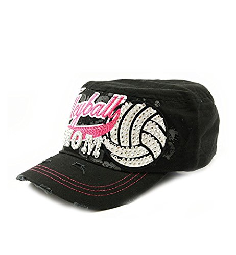 Volleyball Mom Rhinestone Vintage Army Cadet Cap Adjustable ()