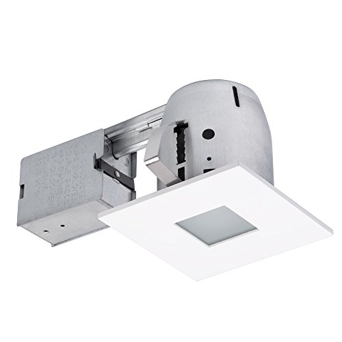 """Globe Electric 4"""" LED IC Rated Flush Square Trim Recessed Lighting Kit, White, Tempered Frosted Glass, Easy Install Push-N-Click Clips, LED Bulb Included, 3.88"""" Hole Size 90950"""