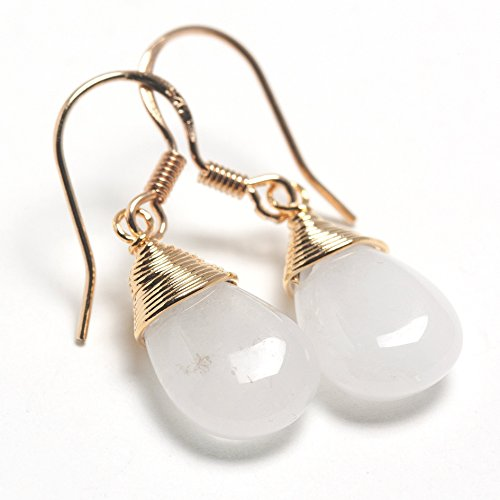 Scutum Craft 925 Sterling Silver Hook 14K Gold Plated Water Drop Cut Natural White Jade Stone Wire Wrap Earrings - Vintage 14k Charm