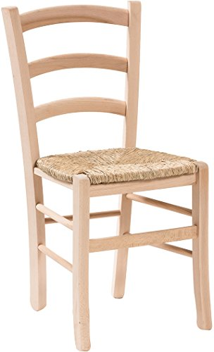 Solid Beech Seat - Biscottini Set of 2 Solid Beech Wood Chairs Straw seat 45x45x88 cm Made in Italy