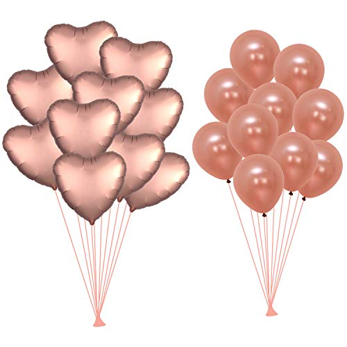 Rose Gold Balloons Decorations Kit - Pack of 20 - 10 Foil Mylar Heart Shape Ballons - 10 Latex Rose Gold Balloons -Valentines Day Decorations - Valentine Balloons for Birthday, Bridal Baby Shower]()