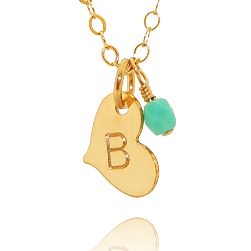Efy Tal Jewelry Gift For Girlfriend/Wife Cute & Romantic Gold Filled Dainty Initial Heart Necklace For Her, Valentines Day
