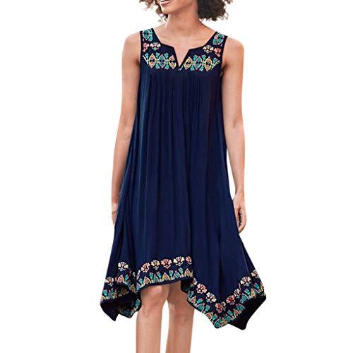 Women's Summer Irregular Chiffon Loose Skirt, Sharemen Ethnic Flower Sleeveless Dress V-Neck Casual Top(Blue,XL)