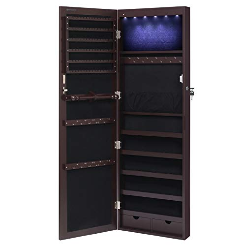 SONGMICS 6 LEDs Jewelry Cabinet Lockable Wall/Door Mounted Jewelry Armoire Organizer with Mirror, 2 Drawers, Dark Brown UJJC93K