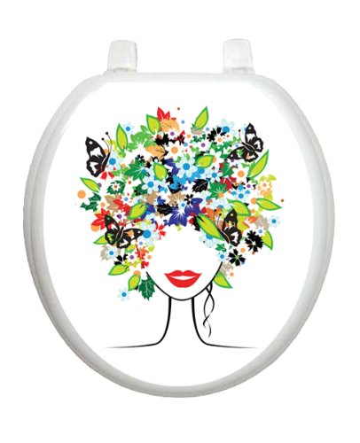 Spring Lady Skull TT-1021-R Round Colorful Theme Cover Bathroom by Toilet Tattoo