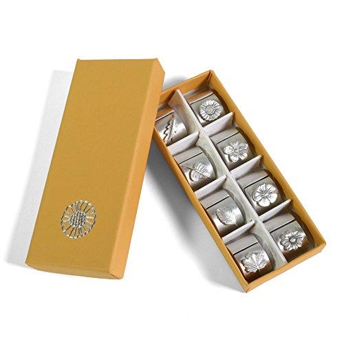 Pewter Place Card Holders (Vilmain Garden Botanicals Pewter Place Card Holders, Gift Boxed Set of 8)