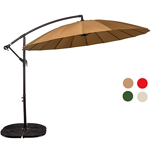 Sundale Outdoor 9ft Aluminum Offset Patio Umbrella with Crank and Cross Bar Set, Cantilever Umbrella for Deck, Garden, Backyard, 18 Fiberglass Ribs, 100% Polyester Canopy Shade (Tan)