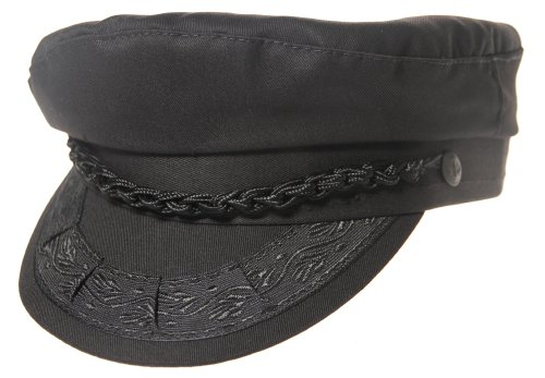 (Authentic Greek Fisherman's Cap - Cotton - Black - Size 62 - (7)