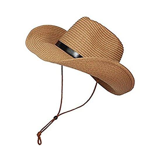 (TINKSKY Cowboy Sun Hat Wide Brim Hat Summer Beach Straw Cap Foldable Caps (Khaki))