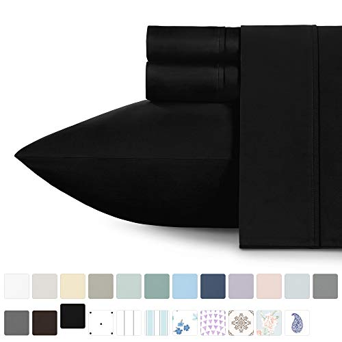 California Design Den 400 Thread Count 100% Cotton Sheet Sets, Black Twin Sheets Set 3 Piece Set, Long-Staple Combed Pure Natural Cotton Bed Sheets, Breathable, Sateen Weave Sheets Set