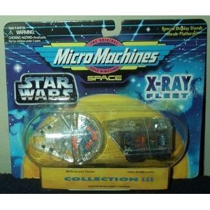 - Star Wars 3 Micro Machines X-Ray Fleet Collection III Millennium Falcon & Jawa Sandcrawler