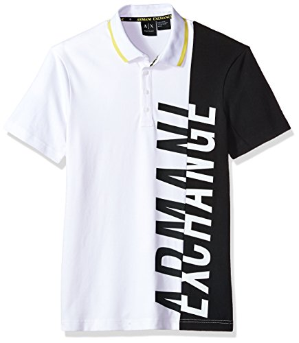 A|X Armani Exchange Men's Slim Fit Side Logo Polo, White, - Polo Exchange Armani