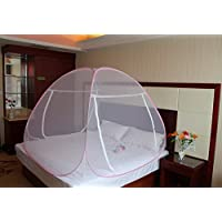 ADOFO Foldable Mosquito Net Flexible for Double Bed, King Size Bed, Queen Size Bed - for Baby and Adult Protection in Coloured Border
