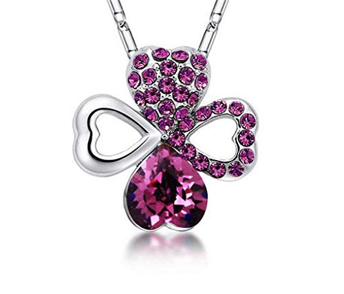 NEW Women Rose Red Crystal Rhinestone Heart Silver Chain Pendant Necklace Hot пјЃпјЃ