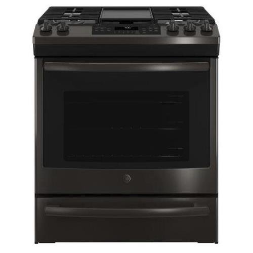 GE JGS760BELTS 30 Inch Slide-in Gas Range with Sealed Burner Cooktop in Black Stainless - 30 Gas Range Professional