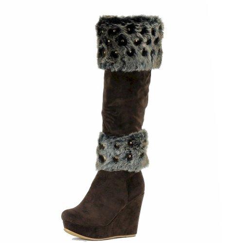 Nancy Li Mujeres Moda Piel Recortada Rodilla Botas Altas Bc1065 Zapatos Marrón Oscuro