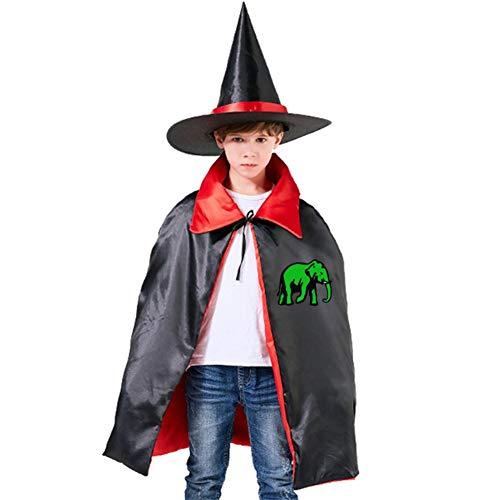 Kids Cloak Green Elephant Wizard Witch Cap Hat Cape All Hallow Mas Costume Magician Halloween Party Boys DIY Prop