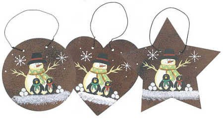 Package of 6 Primitive Rusted Metal Assorted Snowman and Penguin Ornaments for Decorating, Embellishing and Trimming