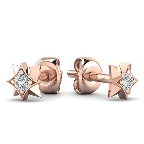 Diamond Star Stud Earrings - Tiny Minimalist Star Earring Studs in Solid 14K Rose Gold, Real Diamonds, Butterfly Push Back ()