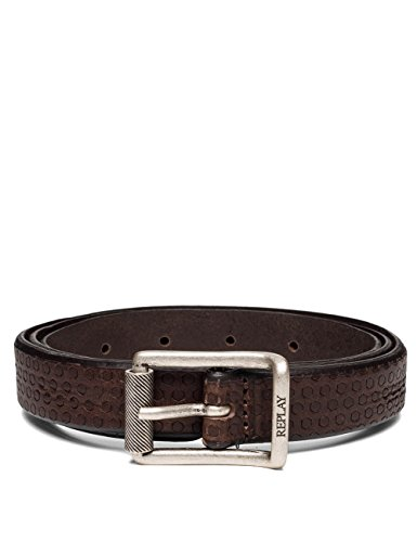 Replay Men's Men's Leather Brown Belt With Skull in Size 90 Brown by Replay