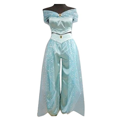 Womens Jasmine Princess Cosplay Belly Dance Dress Anime Lamp Costumes for Party