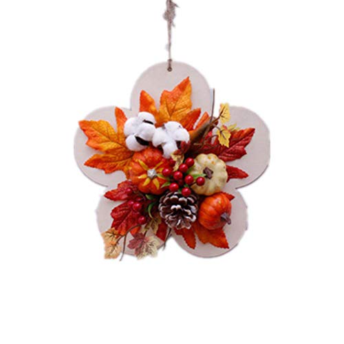Vosarea Artificial Pumpkin Maple Leaf Wreath Front Door Wreath Decorative Front Door Home Wedding Party Decorations Ornaments]()