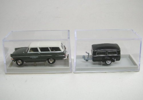 HO Scale Opel PII Station Wagon w/Small Funeral Trailer - Assembled -- Sargschreinerei Wagner (black, white, German Lettering)