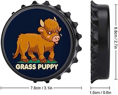 Hierba Puppy Scottish Highland - Abrebotellas con imán trasero para nevera, forma creativa de tapa de botella, fácil de abrir el esfuerzo de botella.