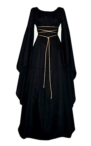 Black Gown Costume (Taoliyuan Women Medieval Renaissance Retro Gown Cosplay Costume Dress (XX-Large, Black))
