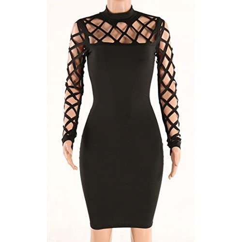 591c1f383 30%OFF AMiERY Women's Black Hollow Out Bandage Clubwear Long Sleeve Bodycon  Dresses S-