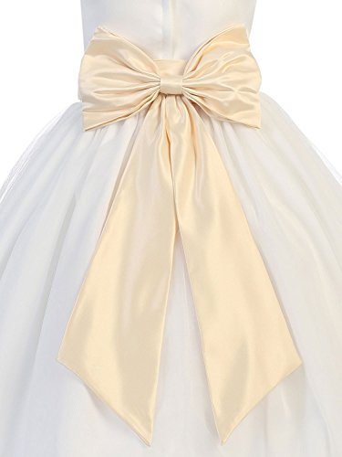 Hot Dresses Flower Girl Sash Belt with Big Bow (L, Light Champagne) by HotDresses