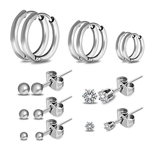 ❤8 Pairs Dainty CZ Stud Earrings Set❤ SOITIS Endless Hoops, Small Round Ball Earring Pierced Stainless Steel for Girls, Hypoallergenic Nickel Free for Boy Father Men Women Kids Fashion Gifts