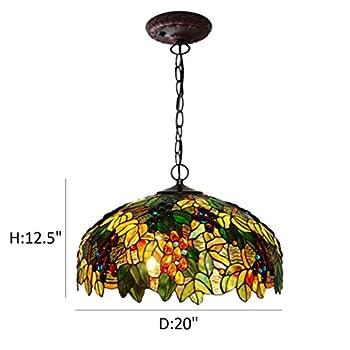 "FUMAT Tiffany Pendant Light Grape Art 20"" E26 Stained Glass Pendant Lamp Creative Art Ceiling Lighting Fixture Dining Room Hanging Light"