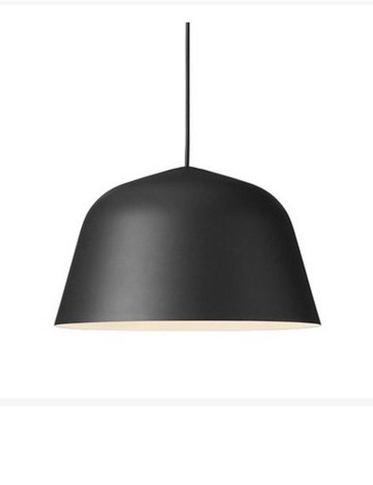 Cozyle Nordic Modern Color Semicircular Aluminum Hanging Light Pendant Lamp Shade Black 40cm