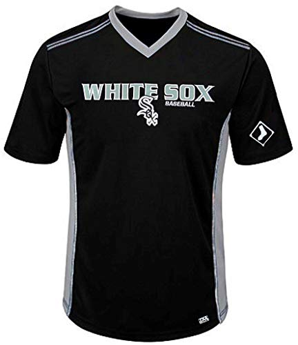 (VF Chicago White Sox MLB Mens Cool Base Performance V Neck Jersey Black Big Sizes (3XL))