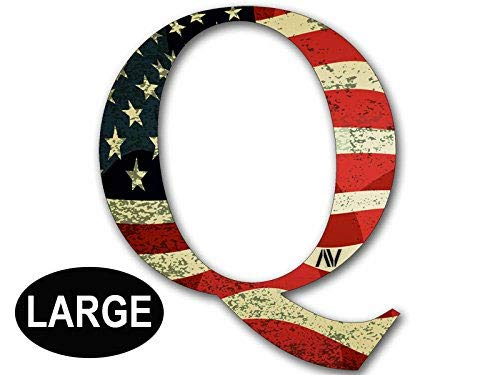 Large Q Shaped Vintage American Flag Sticker (qanon...