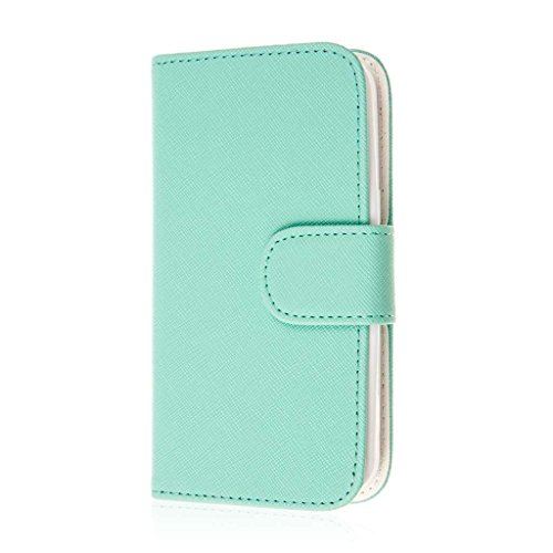 MPERO Samsung Galaxy Avant Wallet Case, [Flex Flip] Cover with Card Slots and Wrist Strap (Mint Green) (Phone Avant Samsung Case Wallet)