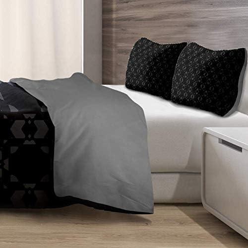 gdfgd Parure de lit double en microfibre douce et légère pour toutes les saisons, 3 pièces (1 couette, 2 taies d'oreiller) Noir