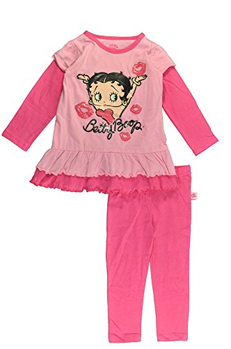 Betty Boop Little Girls Pink Kiss Tunic 2pc Legging Set (2T)