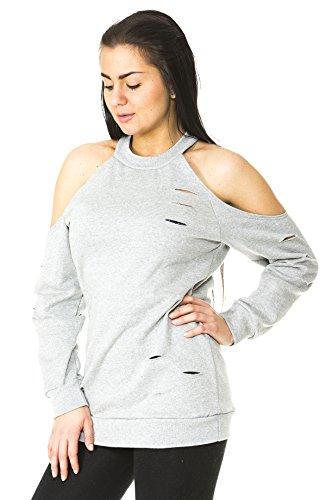 Loomiloo - Sudadera - para mujer gris claro