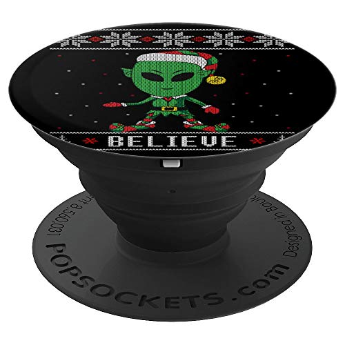 Believe Alien Elf Ugly Christmas Sweater Style PopSockets Grip and Stand for Phones and -