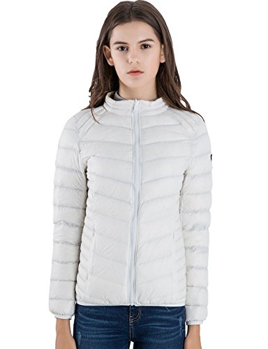 CHERRY CHICK for Weight 154 LB Women's Reversible Down Jacket (L, Ivory-Printed Champagne)