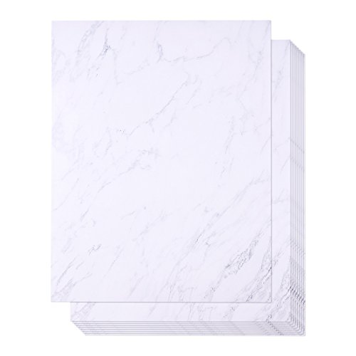 48 Pack Marble Stationery Paper - Letterhead - Decorative Design Paper - Double Sided - Printer Friendly, 8.5 x 11 Inch Letter Size - Design Paper Letterhead