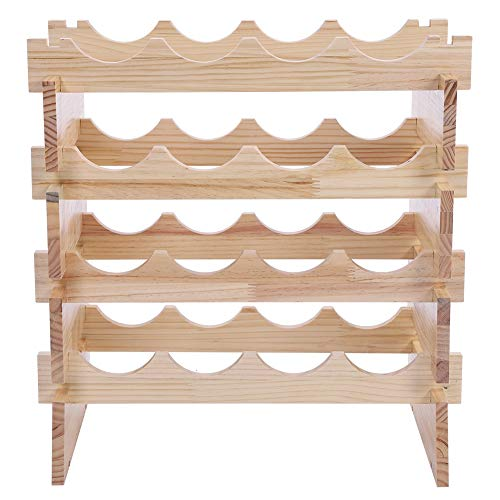 (Dwawoo 4-Tier Stackable Wine Rack, Rustic Pine Wood 16-Bottles Red Wine Storage Stand Countertop Wine Celler Perfect for Bar, Wine Cellar, Basement, Cabinet, Pantry)
