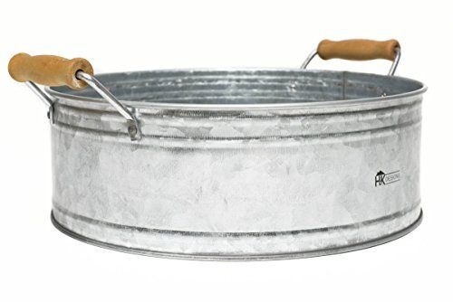 Round Metal Bucket Tray  Galvanized Farmhouse Decor with Wooden Handles for Bathroom Vanity Centerpiece Coffee Tables Kitchen Island Pantry Storage Towel display  Rustic style by H amp K Designs