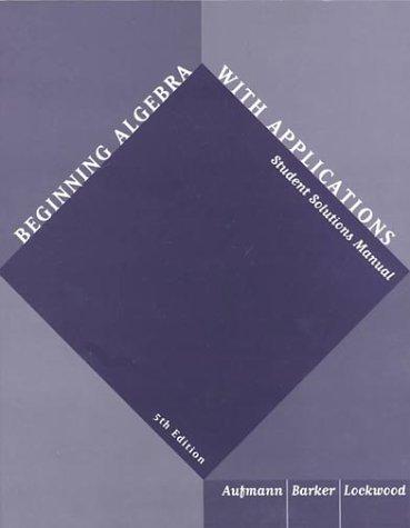 Beginning Algebra Student Solutions Manual, Fifth Edition