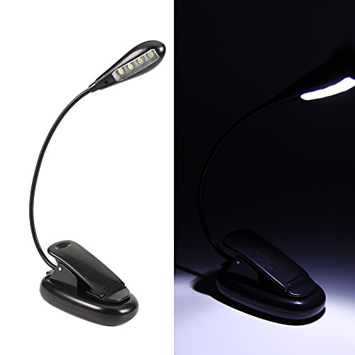 Exlight Bright 4 LED Reading Light Battery Operated FREE 200cm USB Cord With US Regulatory Plug Adapter for Bed