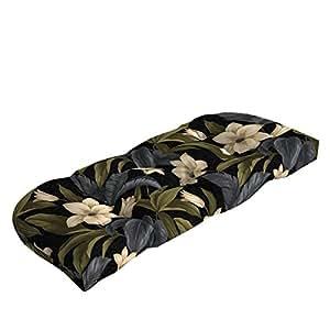 Negro tejido a Tropical Blossom para exteriores Banco cojín