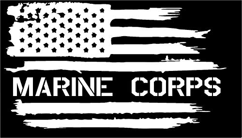 Corps Flag Marine Decal (Firehouse Graphics American Flag USMC Marine Corps USA Military Vinyl die Cut Sticker Decal (3