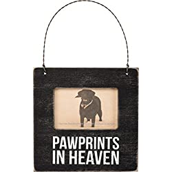 Primitives by Kathy Pet Bereavement Vintage Wall Hanging Wooden Mini Photo Frame - Pawprints in Heaven
